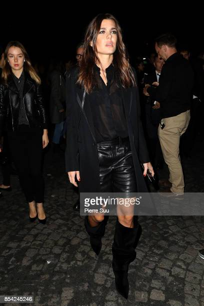 Princess Alexandra Von Hannover and Charlotte Casiraghi arrive at the Saint Laurent show as part of the Paris Fashion Week Womenswear Spring/Summer...