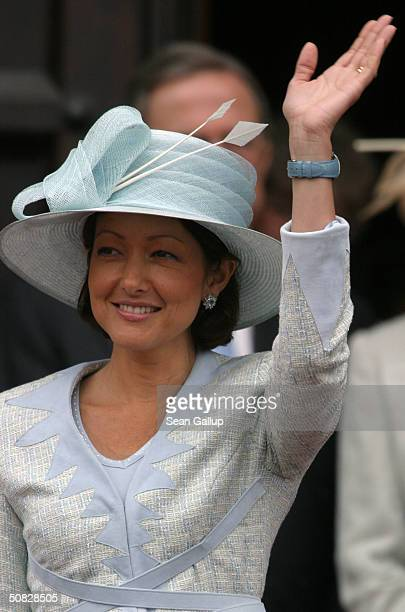 Princess Alexandra wife of Danish Prince Joachim leaves City Hall after a reception for Miss Mary Elizabeth Donaldson and Danish Crown Prince...