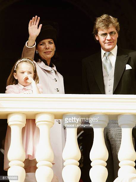 Princess Alexandra with her mother Princess Caroline and Father Prince Ernst August of Hanover stand at the balcony as part of the National Day...