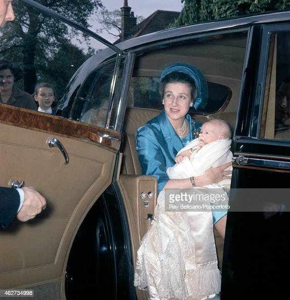 Princess Alexandra with her son James returning to Thatched House Lodge in Richmond after his christening on 11th May 1964