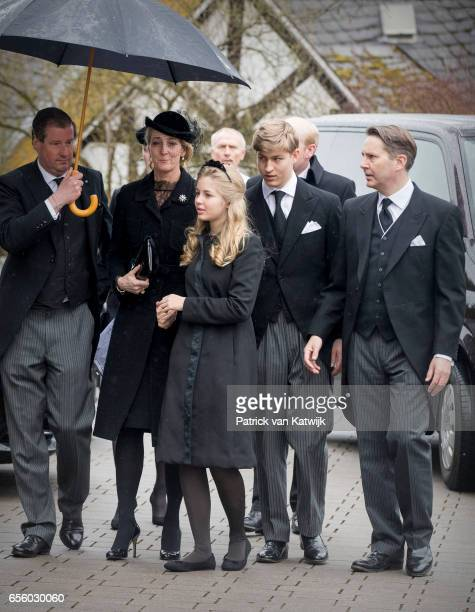 Princess Alexandra zu SaynWittgensteinBerleburg and Count Jefferson with children Count Richard and Countess Ingrid attend the funeral service of...