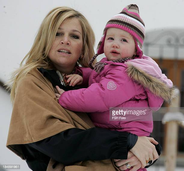 Princess Alexia and Princess Maxima during The Dutch Royal Family's Ski Holiday February 11 2007 in Lech Austria