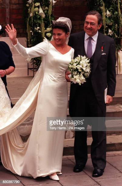 Princess Alexia of Greece and her father King Constantine of Greece arrive at the Greek Orthodox Cathedral of St Sophia in Bayswater west London for...