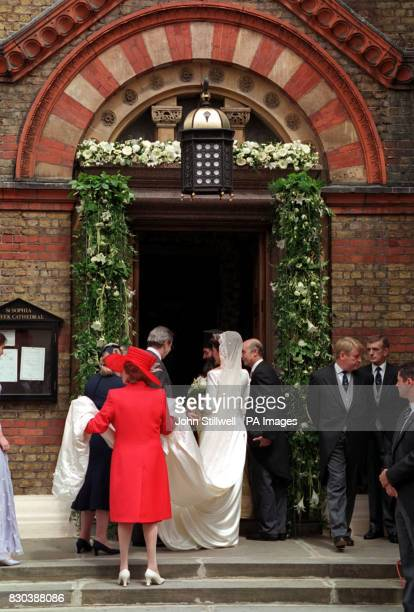 Princess Alexia of Greece and her father King Constantine the former King of Greece arrive at the Greek Orthodox Cathedral of St Sophia in Bayswater...