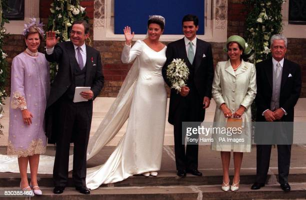 Princess Alexia of Greece and her husband Carlos Morales Quintana of Spain with her parents to the left King Constantine and Queen AnneMarie of...