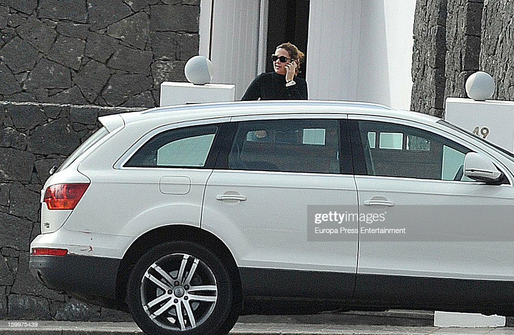 Princess Alexia of Greece and her kids are seen arriving at home on January 21, 2013 in Lanzarote, Spain.