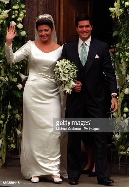Princess Alexia of Greece gives a wave after her wedding to Carlos Morales Quintana of Spain at the Greek Orthodox Cathedral of St Sophia in...