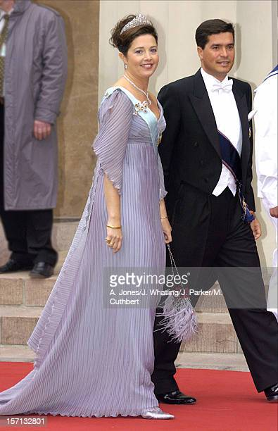 Princess Alexia Of Greece Husband Carlos Morales Quintana Attend The Wedding Of Crown Prince Frederik Mary Donaldson At The Vor Frue Kirke Catherdal...