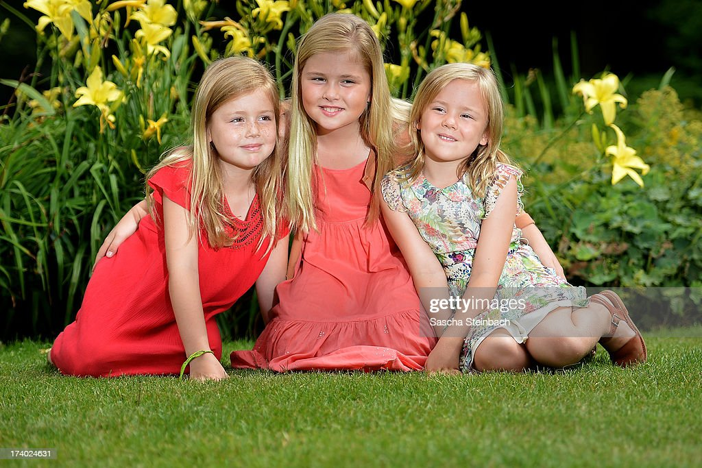 Princess Alexia of the Netherlands, Crown Princess Catharina-Amalia of the Netherlands and Princess Ariane of the Netherlands pose during the annual summer photocall at Horsten Estate on July 19, 2013 in Wassenaar, Netherlands.