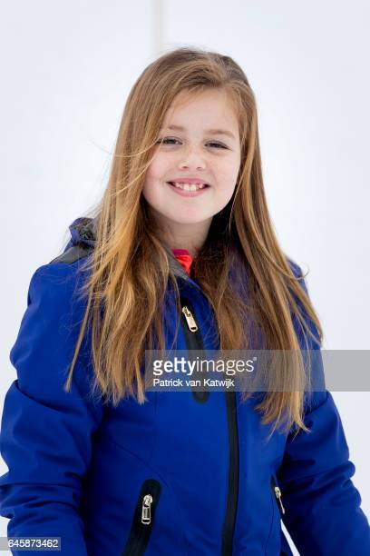 Princess Alexia of The Netherlands pose for the media during their annual wintersport holidays on February 27 2017 in Lech Austria