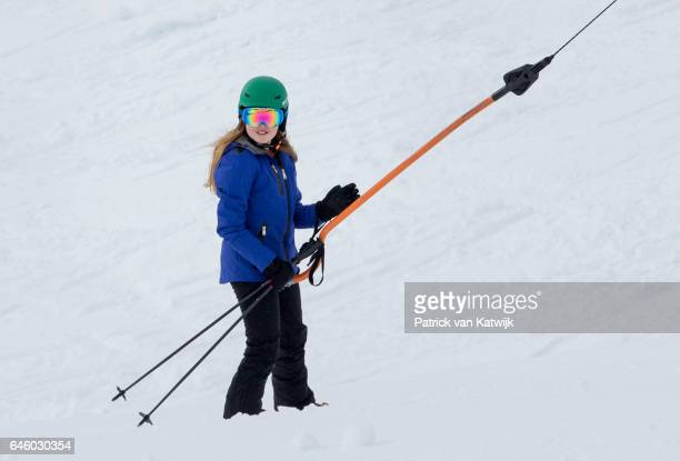 Princess Alexia of The Netherlands poses for the media during their annual wintersport holidays on February 27 2017 in Lech Austria