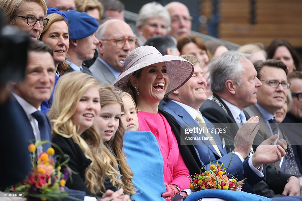 Princess Alexia of The Netherlands, Princess Ariane of The Netherlands, Queen Maxima of The Netherlands and <a gi-track='captionPersonalityLinkClicked' href=/galleries/search?phrase=King+Willem-Alexander&family=editorial&specificpeople=160214 ng-click='$event.stopPropagation()'>King Willem-Alexander</a> of The Netherlands attend King's Day (Koningsdag), the celebration of the birthday of the Dutch King, on April 27, 2016 in Zwolle, Netherlands. Parties and concerts are held across the Netherlands as members of the Dutch royal family oversee festivities.