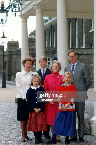 Princess Alice Duchess Of Gloucester With Her Family The Duke And Duchess Of Gloucester The Earl Of Ulster Lady Rose And Lady Davina Windsor At...