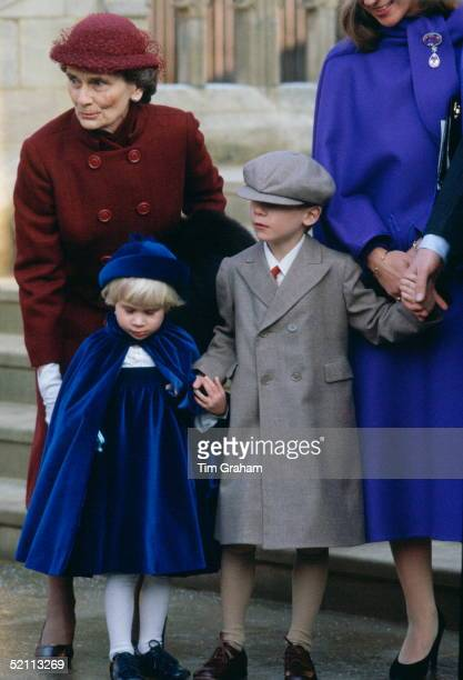 Princess Alice Duchess Of Gloucester With Her Grandchildren Lady Davina Windsor And The Earl Of Ulster After Attending Christmas Service At St...