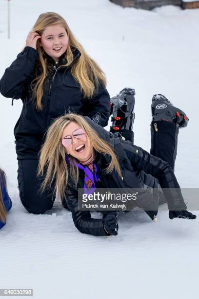 Princess Amalia and Queen Maxima of The Netherlands pose for the media during their annual wintersport holidays on February 27 2017 in Lech Austria