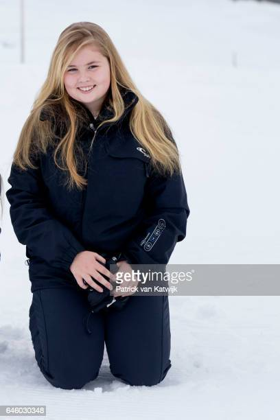 Princess Amalia of The Netherlands poses for the media during their annual wintersport holidays on February 27 2017 in Lech Austria