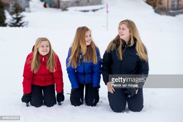 Princess Amalia Princess Alexia and Princess Ariane of The Netherlands pose for the media during their annual wintersport holidays on February 27...