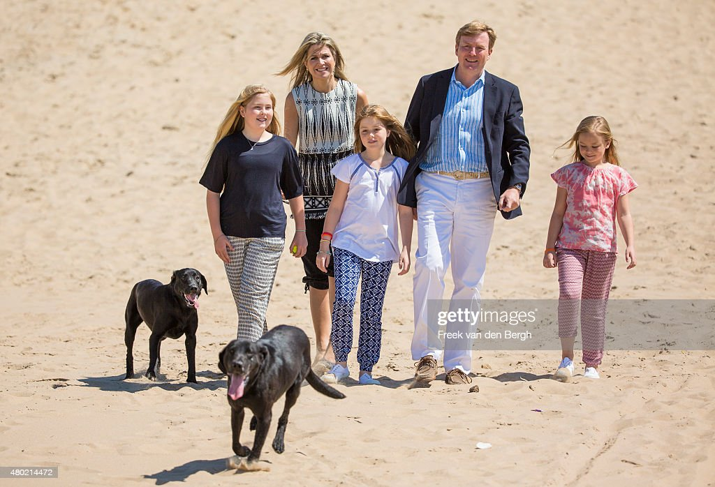 Princess Amalia, Queen Maxima, Princess Alexia, <a gi-track='captionPersonalityLinkClicked' href=/galleries/search?phrase=King+Willem-Alexander&family=editorial&specificpeople=160214 ng-click='$event.stopPropagation()'>King Willem-Alexander</a> and Princess Ariane of The Netherlands and their dogs Skipper and Nala pose for pictures on July 10, 2015 in Wassenaar, Netherlands.
