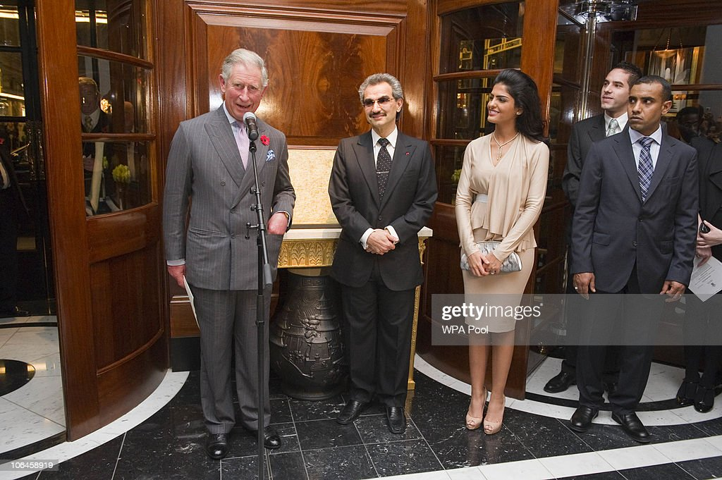 Princess Amira, Prince Charles, Prince of Wales and Prince Alwaleed Bin Talal Bin AbdulAziz Alsaud attend the re-opening of the newly restored Savoy Hotel on November 2, 2010 in London, England. The Savoy Hotel, which originally opened in 1889, closed for refurbishment in December 2007. The entire building has been restored by over 1000 craftsmen, and began receiving guests again on October 10, 2010.