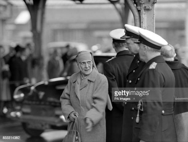 Princess Andrew of Greece mother of the Duke of Edinburgh on the quayside at Portsmouth attending the funeral of Countess Mountbatten which took...