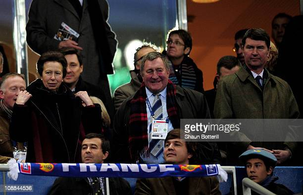 Princess Anne and her husband Tim Laurence attend the RBS 6 Nations Championship match between France and Scotland at the Stade De France on February...
