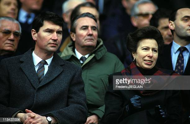 Princess Anne And Husband Timothy Laurence At Parc Des Princes Stadium On February 06th 1993 In Paris France