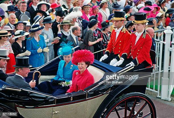 Princess Anne And Princess Margaret In A Carriage At Royal Ascot On Ladies Day