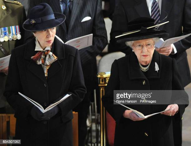 Princess Anne and Queen Elizabeth II attend the service of Thanksgiving for the life of Sir Edmund Hillary at St George's Chapel Windsor