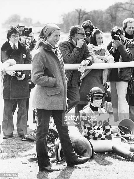Princess Anne at the Badminton horse trials Gloucestershire 14th April 1977 The princess has temporarily given up competitive riding as she is...