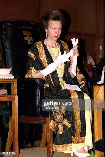 Princess Anne Chancellor University Of London Removing Her Long White Evening Gloves During The Foundation Day Celebrations At Senate House Malet...
