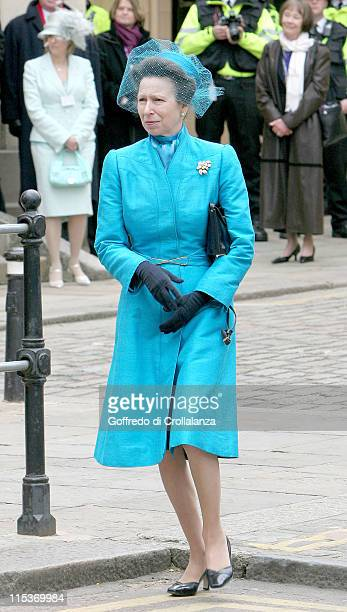 Princess Anne during The Royal Wedding of HRH Prince Charles And Camilla Parker Bowles Outside at Guildhall in Windsor Great Britain