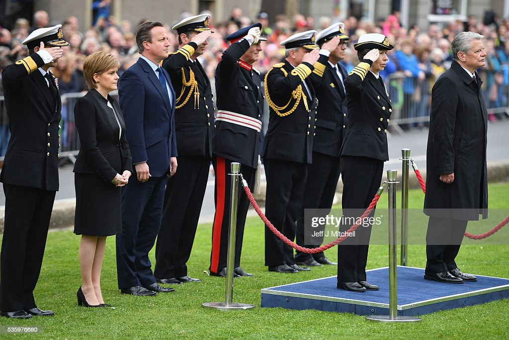 Princess Anne, German President Joachim Gauck, Scotland's First Minister Nicola Sturgeon and British Prime Minister David Cameron attend the commemorations of the 100th anniversary of the Battle of Jutland at St Magnus Cathedral on May 31, 2016 in Kirkwall, Scotland. The event marks the centenary of the largest naval battle of World War One where more than 6,000 Britons and 2,500 Germans died in the Battle of Jutland fought near the coast of Denmark on 31 May and 1 June 1916.