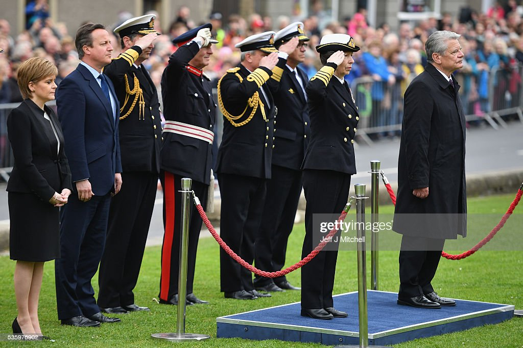 Princess Anne, German President Joachim Gauck, Scotland's First Minister Nicola Sturgeon and British Prime Minister David Cameron attend the commemorations of the 100th anniversary of the Battle of Jutland at St Magnus Cathedral on May 31, 2016 in Kirkwall,Scotland. The event marks the centenary of the largest naval battle of World War One where more than 6,000 Britons and 2,500 Germans died in the Battle of Jutland fought near the coast of Denmark on 31 May and 1 June 1916.