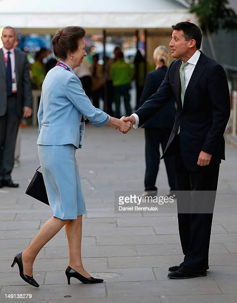Princess Anne is greeted by Lord Sebastian Coe Chairman of the London Organising Committee for the Olympic Games attends the Opening Ceremony of the...