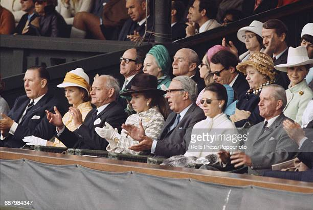 Princess Anne pictured 4th from left with British Prime Minister Edward Heath 5th from left Princess Margaret Countess of Snowdon 6th from left and...