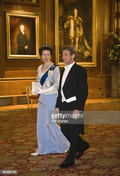 Princess Anne Princess Royal and Bernard Kouchner attend a State Banquet for President Sarkozy's State Visit at Windsor Castle on March 26 2008 in...
