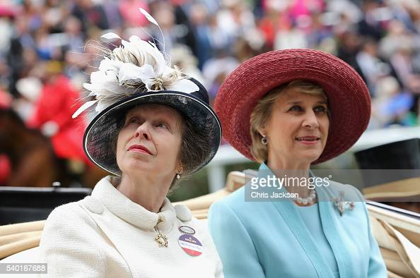 Princess Anne Princess Royal and Birgitte Duchess of Gloucester arrive in the parade ring at Royal Ascot 2016 at Ascot Racecourse on June 14 2016 in...