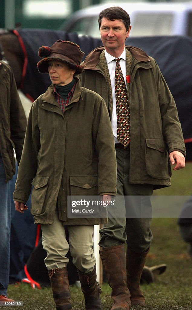 Princess Anne, Princess Royal and her husband Tim Laurence leave following the show jumping during the Badminton Horse Trials on May 4 2008 in Badminton, England. Reigning world champion Zara Phillips rode Glenbuck and Ardfield Magic Star at the event - as the British equestrian team looks to finalise their 2008 Olympics squad. The event started with two days of dressage then went into cross country before finishing with the jumping test on today.