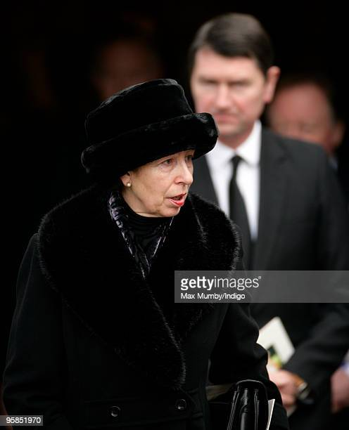 Princess Anne Princess Royal and her husband ViceAdmiral Tim Laurence attend the funeral service for Rosemary Parker Bowles who died of cancer on...