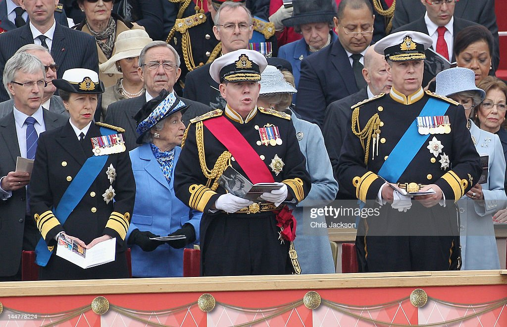 Princess Anne, Princess Royal (L) and <a gi-track='captionPersonalityLinkClicked' href=/galleries/search?phrase=Prince+Andrew+-+Duke+of+York&family=editorial&specificpeople=160175 ng-click='$event.stopPropagation()'>Prince Andrew</a>, Duke of York (R) attend the Armed Forces Parade and Muster on May 19, 2012 in Windsor, England. Over 2500 troops took part in the Diamond Jubilee Muster in Home Park.