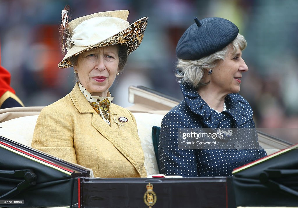 <a gi-track='captionPersonalityLinkClicked' href=/galleries/search?phrase=Princess+Anne+-+Princess+Royal&family=editorial&specificpeople=11706204 ng-click='$event.stopPropagation()'>Princess Anne</a>, Princess Royal (L) and the Duchess of Gloucester ride on royal procession the during Royal Ascot 2015 at Ascot racecourse on June 16, 2015 in Ascot, England.