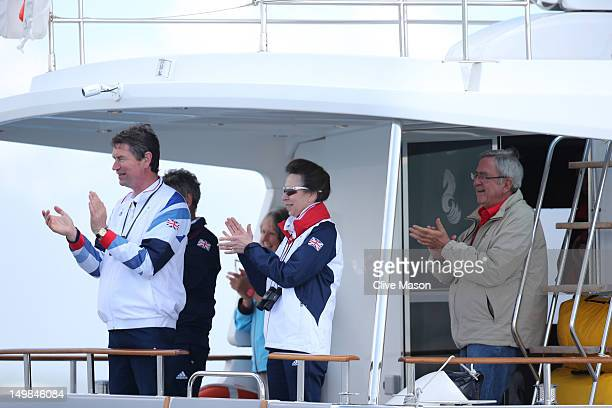 Princess Anne Princess Royal and Vice Admiral Sir Timothy Laurence attend the Men's Finn Sailing Medal Race on Day 9 of the London 2012 Olympic Games...