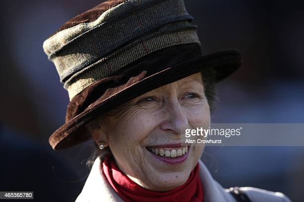 Princess Anne Princess Royal at Sandown racecourse on March 06 2015 in Esher England