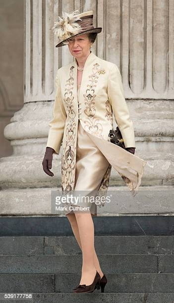 Princess Anne Princess Royal attends a National Service of Thanksgiving as part of the 90th birthday celebrations for The Queen at St Paul's...