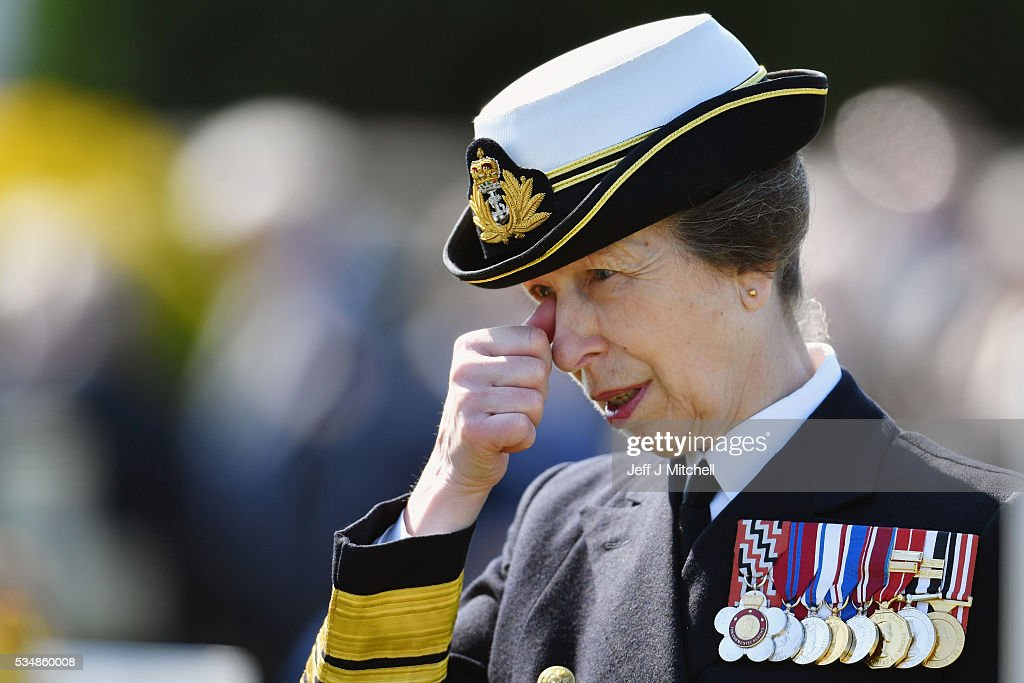 Princess Anne, Princess Royal joined by Vice Admiral Sir Tim Laurence and First Minister Nicola Sturgeon for a service at a war graves cemetery to mark the Battle of Jutland on May 28, 2016 in South Queensferry,Scotland. The events begin a weekend of commemoration leading up to the anniversary on 31 May and 1 June to mark the centenary of the largest naval battle of World War One where more than 6,000 Britons and 2,500 Germans died in the Battle of Jutland.