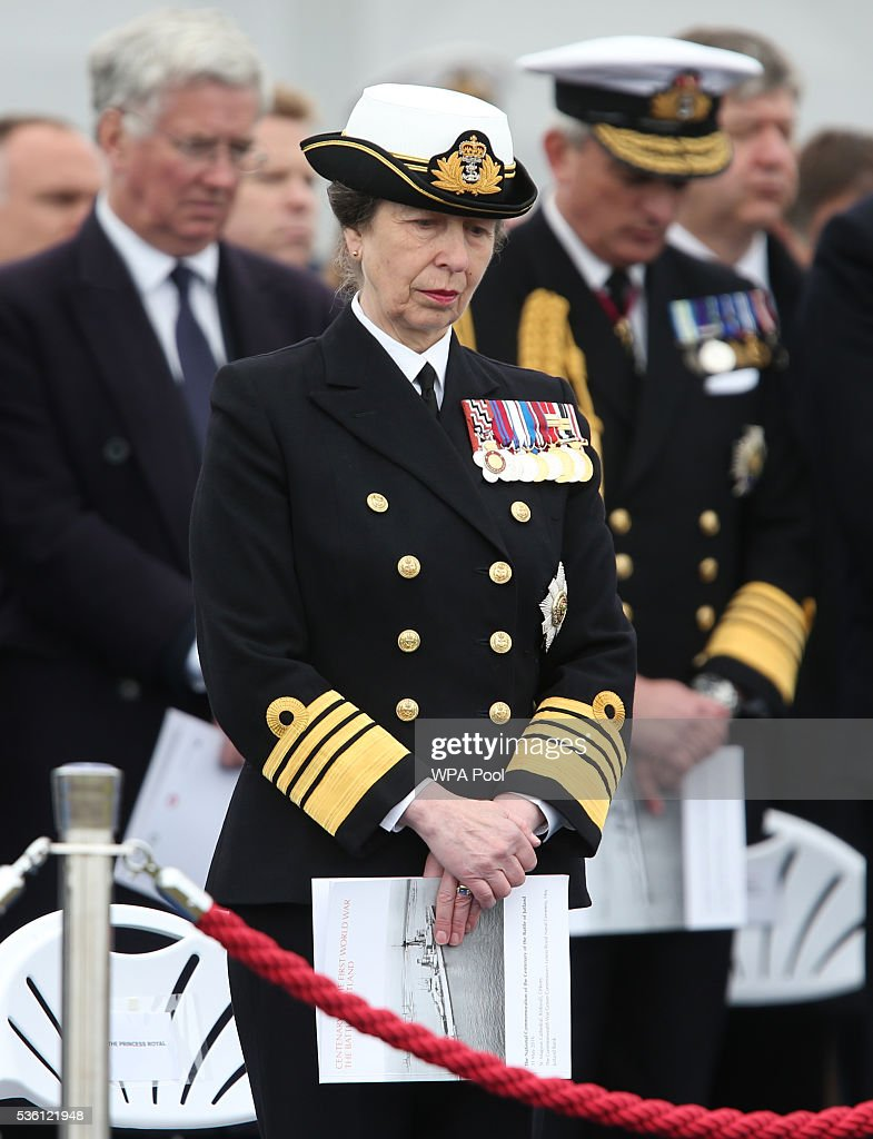 <a gi-track='captionPersonalityLinkClicked' href=/galleries/search?phrase=Princess+Anne+-+Princess+Royal&family=editorial&specificpeople=11706204 ng-click='$event.stopPropagation()'>Princess Anne</a>, Princess Royal attends a service at Lyness Cemetery during the 100th anniversary commemorations for the Battle of Jutland on May 31, 2016 in Hoy, Scotland. The event marks the centenary of the largest naval battle of World War One where more than 6,000 Britons and 2,500 Germans died in the Battle of Jutland fought near the coast of Denmark on 31 May and 1 June 1916.