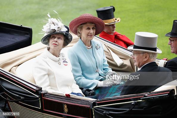 Princess Anne Princess Royal Birgitte Duchess of Gloucester Prince Richard Duke of Gloucester and The Lord Vestey arrive by carriage on day 1 of...