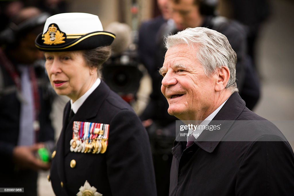 Princess Anne, Princess Royal, German President <a gi-track='captionPersonalityLinkClicked' href=/galleries/search?phrase=Joachim+Gauck&family=editorial&specificpeople=2077888 ng-click='$event.stopPropagation()'>Joachim Gauck</a>, attend commemorations of the 100th anniversary of the Battle of Jutland at St Magnus Cathedral on May 31, 2016 in Kirkwall, Scotland. The event marks the centenary of the largest naval battle of World War One where more than 6,000 Britons and 2,500 Germans died in the Battle of Jutland fought near the coast of Denmark on 31 May and 1 June 1916.