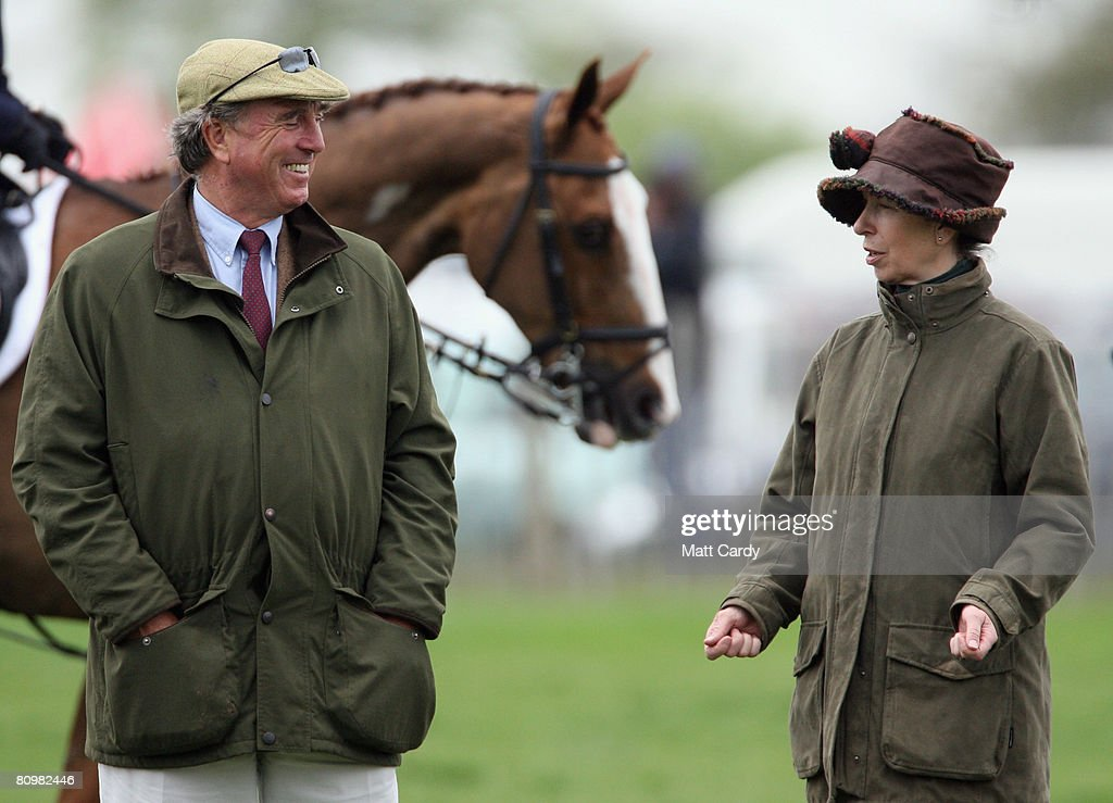 Princess Anne, Princess Royal jokes with her ex-husband Mark Phillips before the show jumping during the Badminton Horse Trials on May 4 2008 in Badminton, England. Reigning world champion Zara Phillips rode Glenbuck and Ardfield Magic Star at the event - as the British equestrian team look to finalise their 2008 Olympics squad. The event started with two days of dressage then went into cross country before finishing with the jumping test on today.