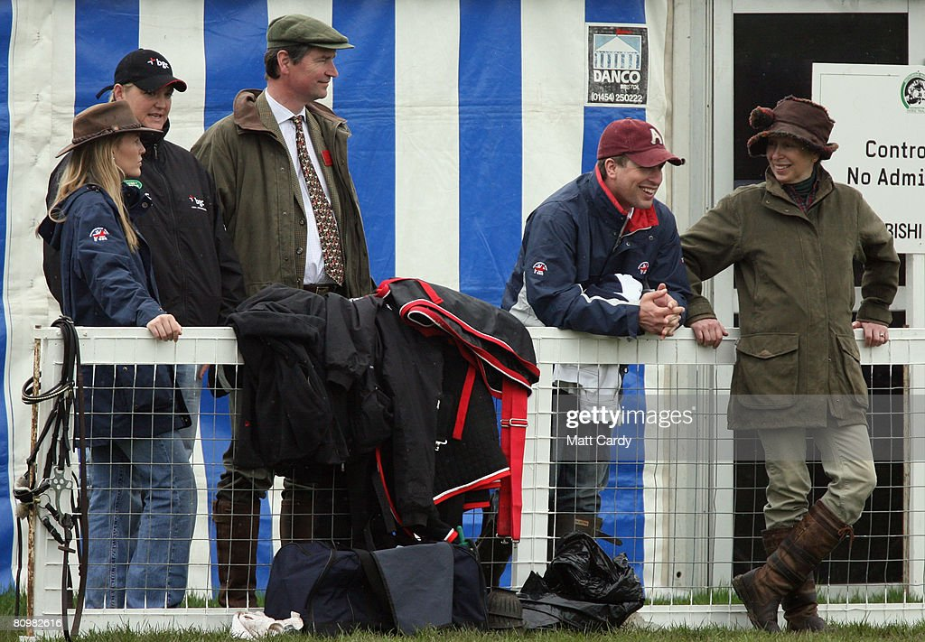 Princess Anne, Princess Royal jokes with her son Peter Phillips as they watch the horses warming up for the show jumping during the Badminton Horse Trials alongside Tim Laurence and Autumn Kelly on May 4 2008 in Badminton, England. Reigning world champion Zara Phillips rode Glenbuck and Ardfield Magic Star at the event - as the British equestrian team look to finalise their 2008 Olympics squad. The event started with two days of dressage then went into cross country before finishing with the jumping test today.